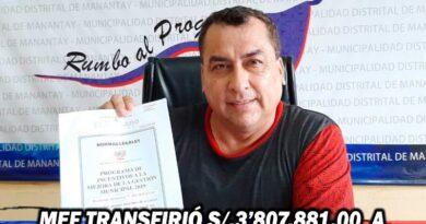 MEF TRANSFIRIÓ S/.3'807.881.00 A LA MUNICIPALIDAD DISTRITAL DE MANANTAY